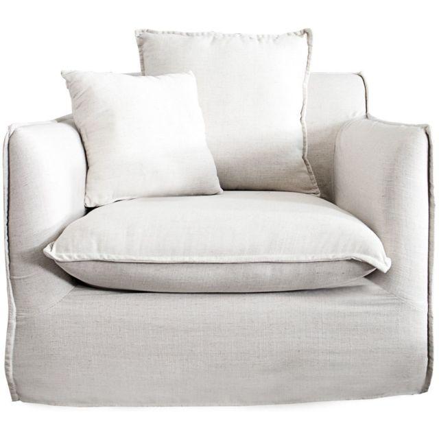 Comforium Fauteuil moderne en tissu déhoussable coloris blanc