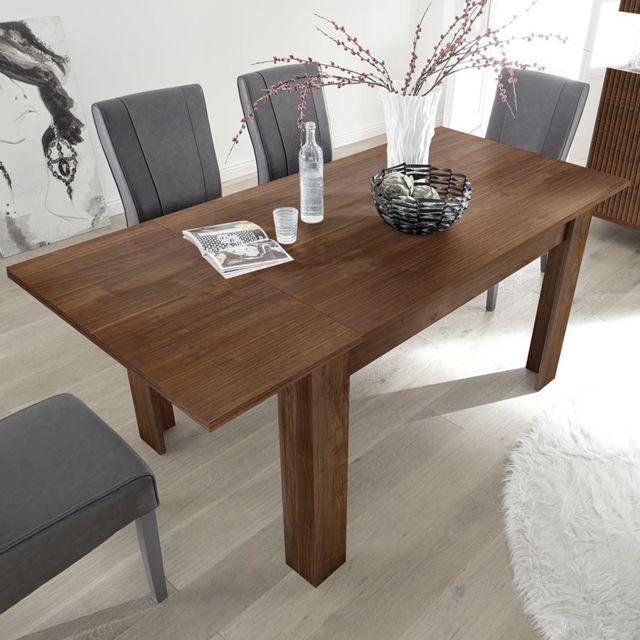 Kasalinea Table 140 cm avec rallonge contemporaine couleur noyer Verona