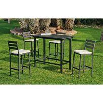 Hevea Jardin - Ensemble table et chaises de jardin galicia 130 anthracite + coussins
