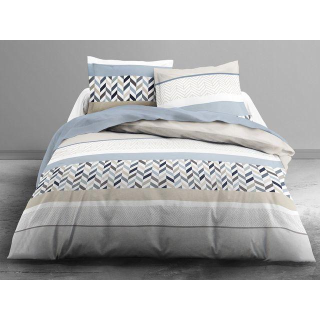 today parure housse de couette taies 100 coton ligne. Black Bedroom Furniture Sets. Home Design Ideas