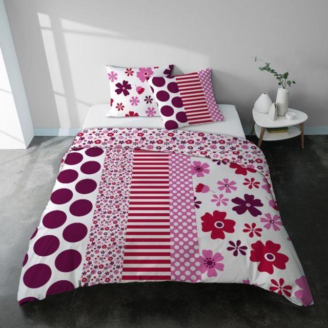 Parure housse de couette romantique motif liberty rose et blanc adulte en  coton - Liberty Couleur - Imprimé, Taille - Housse 240x220 + 2 taies 64x64