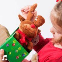 Peluche de Noël chantante avec boîte de rangement - Idée cadeau enfant qui parle