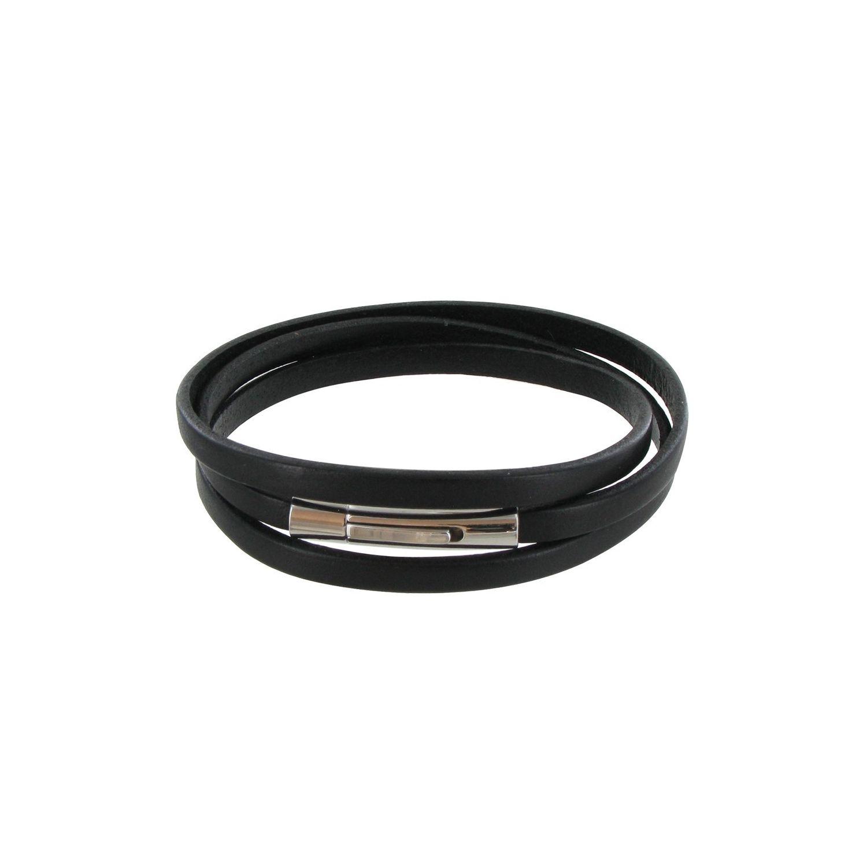 545a25aea4ce6 LES POULETTES BIJOUX- Bracelet Homme Cuir Noir Plat Fermoir Acier Inoxydable  - taille 18 cm