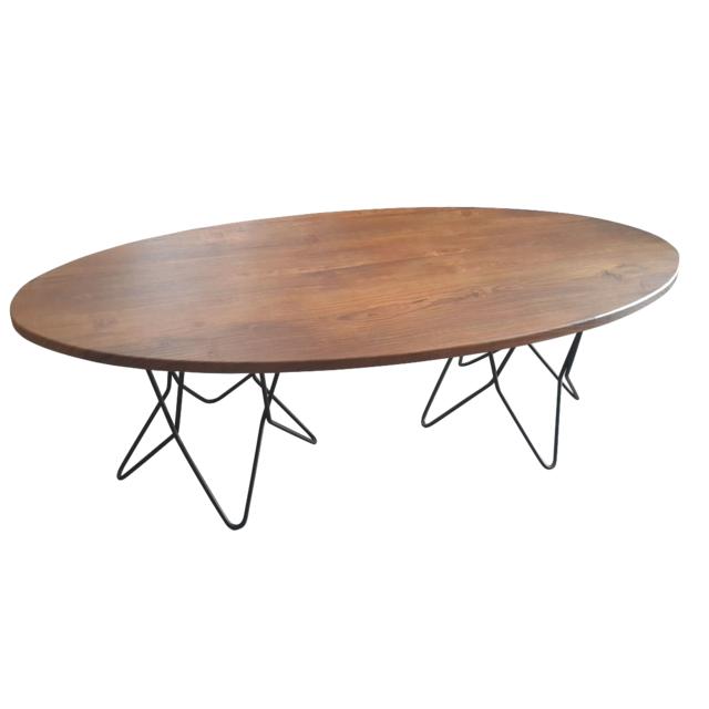 homense table basse de salon design industriel pietement metal dessus bois ovale 120cm naturel. Black Bedroom Furniture Sets. Home Design Ideas