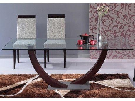 VENTE-UNIQUE Table à manger MELODIE - 6 couverts - Verre trempé et wengé