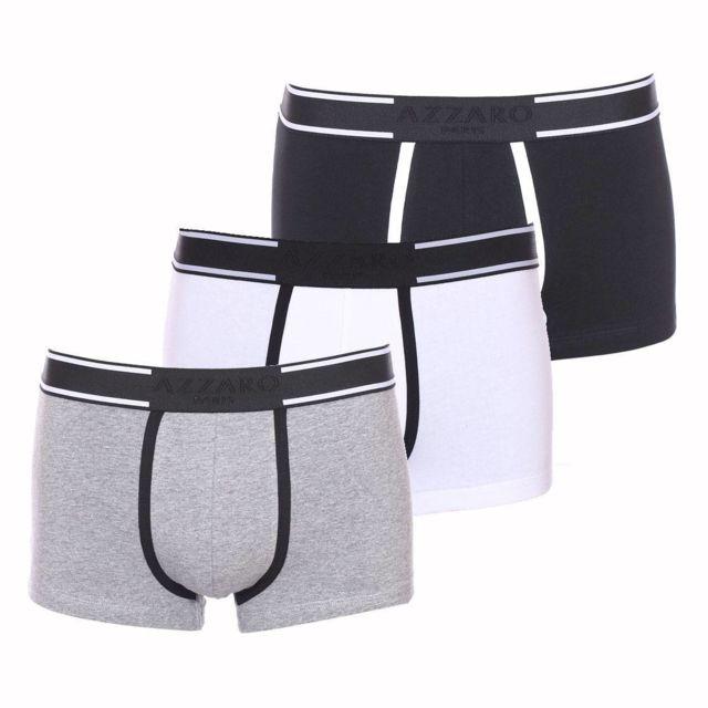 Azzaro - Lot de 3 boxers en coton stretch gris, noir et blanc - pas cher  Achat   Vente Boxers, shorties - RueDuCommerce 83a9b554ae9