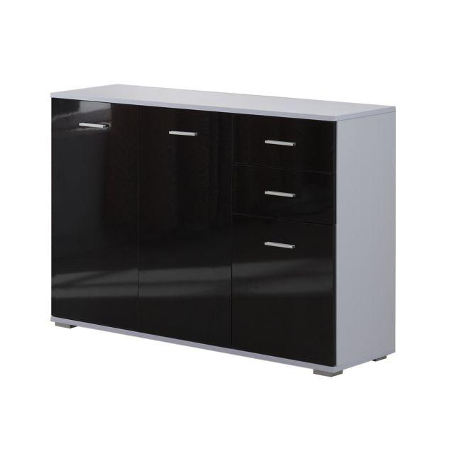 HOMCOM - Armoire de rangement commode chambre/salon 2 tiroirs coulissants + 3 placards 106L x ...