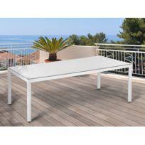 Table de jardin en polyrotin blanc et avec plateau en verre ITALY