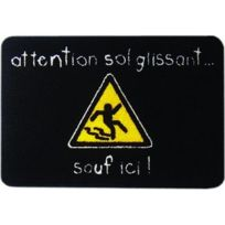 Incidence - Tapis de cuisine - 60 x 40 cm - Attention, sol glissant? Sauf ici ! - Noir