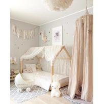 shop lit cabane 90x190 en pin massif sommier matelas mousse - Lit Enfant Fille