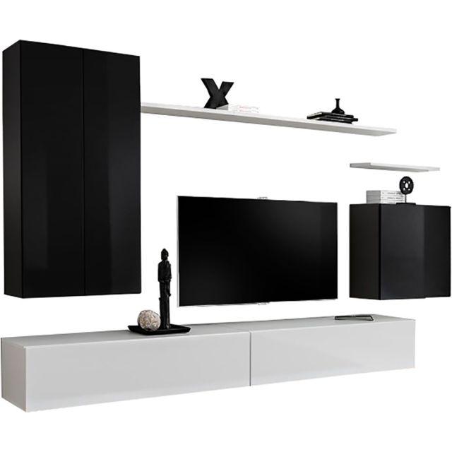 comforium ensemble ultra design 270 cm avec 2 meubles tv 2 tag res 2 colonnes et 1. Black Bedroom Furniture Sets. Home Design Ideas