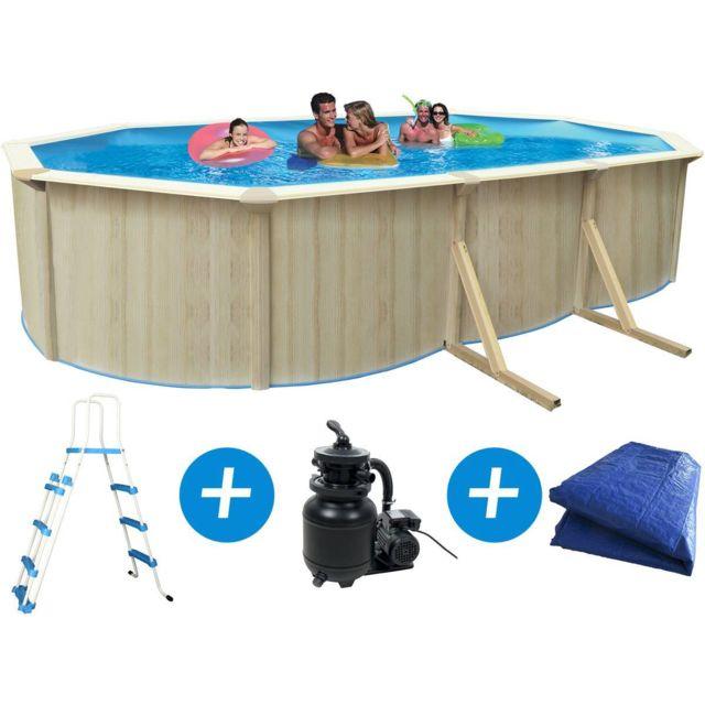 habitat et jardin piscine acier ovale aspect bois. Black Bedroom Furniture Sets. Home Design Ideas