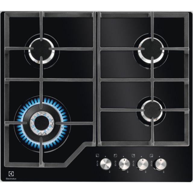 electrolux table de cuisson gaz 59cm 4 feux 8900w noire. Black Bedroom Furniture Sets. Home Design Ideas