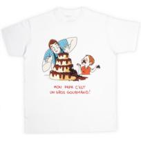 Nathalie Jomard - T-shirt pour Papa 'Mon papa c'est un gros gourmand' signé