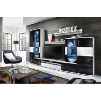Asm-mdlt - Ensemble meuble Tv Lake noir et blanc de haute brillance