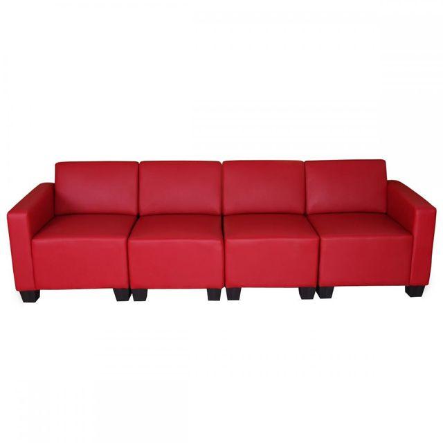 Mendler Canapé 4 places lounge/salon Lyon, système modulaire, simili-cuir, rouge