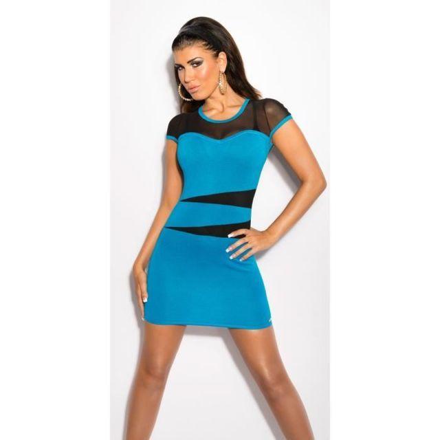 6567be3efe9 Koucla - Robe courte turquoise dos voile noir transparent sexy femme ...