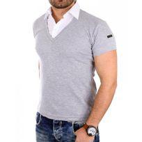 Rerock - Polo chemise homme Polo 1015 gris clair