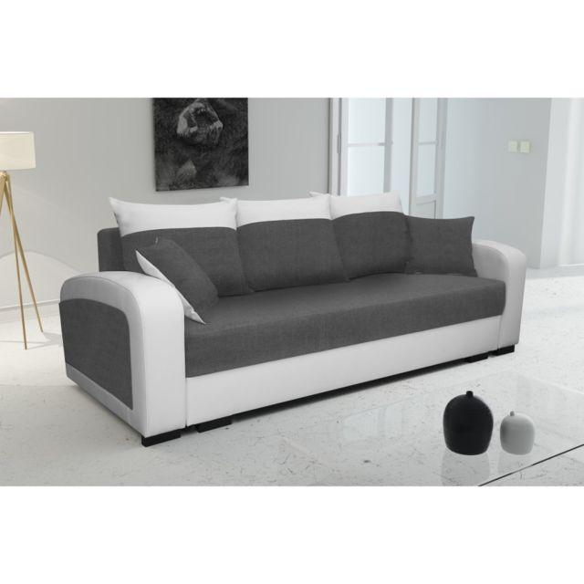 rocambolesk canap lola blanc gris sofa divan 92cm x 230cm x 85cm - Canape Blanc Et Gris