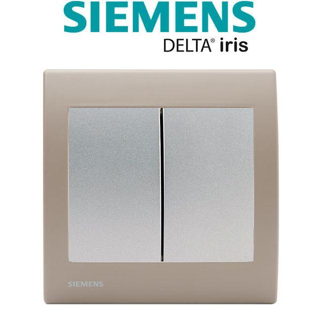 Siemens - Double Poussoir Silver Delta Iris + Plaque Soft Taupe