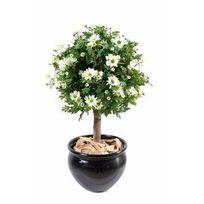 Artificielflower - Plante artificielle fleurie Anthémis boule en pot - intérieur - H.90 cm vert blanc