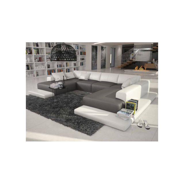 marque generique canap panoramique 7 places en simili scosy bicolore noir et blanc achat. Black Bedroom Furniture Sets. Home Design Ideas