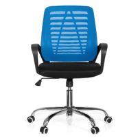 Hjh Office - Siège de bureau / siège tournant Vido Net tissu noir / bleu