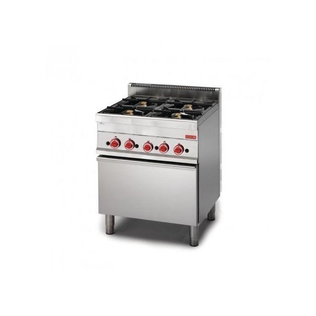 Gastro M Piano de cuisson à gaz 4 brûleurs 17.2 kw - four à gaz 5 kw 650