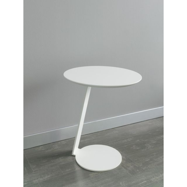 Ma Maison Mes Tendances Table de chevet ronde en bois laqué blanc et pied en métal Tasha - l 50 x H 54.5