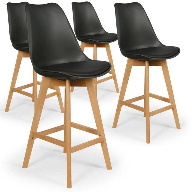 menzzo lot de 4 chaises hautes scandinaves bovary noir. Black Bedroom Furniture Sets. Home Design Ideas