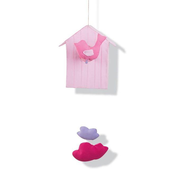 L'OISEAU Bateau - Veilleuse et mobile : Cabane volante rose clair