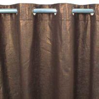 MonbeauRideau - Rideau Comete Coton lin et lurex 140x250 chocolat