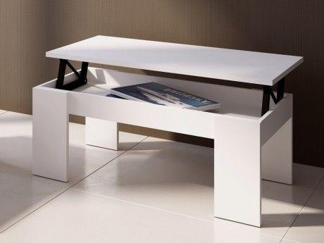 Vente-unique Table basse Carmela - Plateau relevable - Bois & Mdf - Coloris blanc