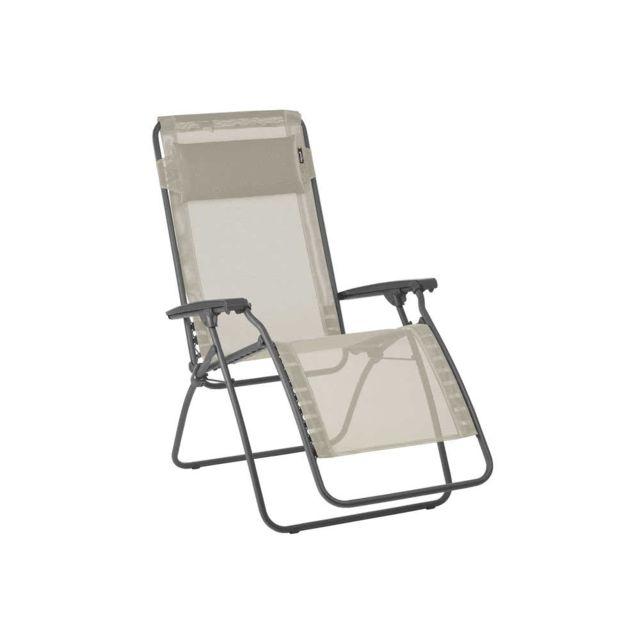 Lafuma Chaise longue relax pliante multiposition en acier et toile Batyline R Clip - Seigle