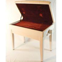 banquette piano simple avec blanc mat avec rembourrage en cuir synthetique rouge