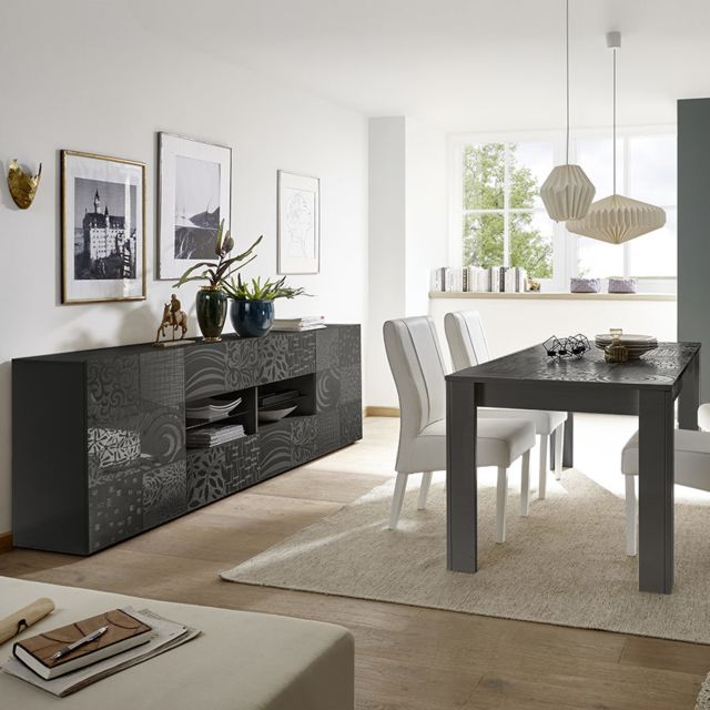 Kasalinea Table 180 cm design gris laqué Nerina 2