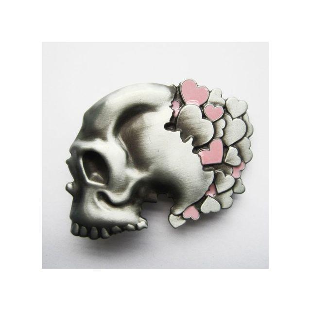 Universel - Boucle de ceinture crane coeur rose tete de mort femme ... f667ce96d1e