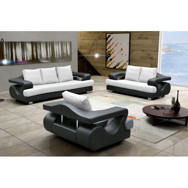 6b15bdac587e31 Relax design - Canapé Lara dolaro blanc noir 3+2+1 places sofa. Description   Fiche technique