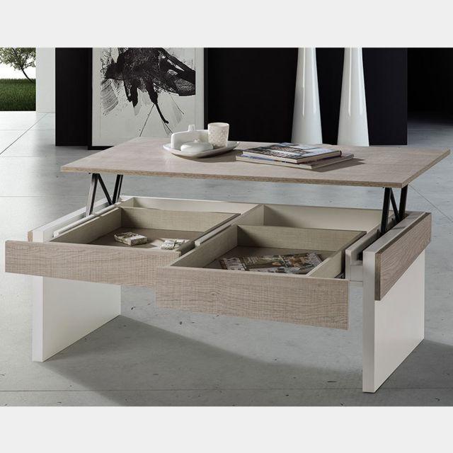 Nouvomeuble Table Salon Relevable Couleur Bois Clair Et Blanc