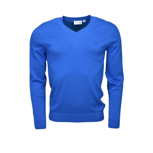 89017f4944 Lacoste - Pull col V bleu saphir pour homme - pas cher Achat / Vente ...