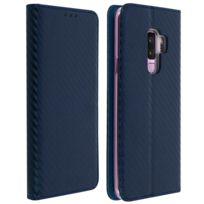 Avizar - Housse Samsung Galaxy S9 Plus Etui Carbone Porte-carte Fonction Support Bleu