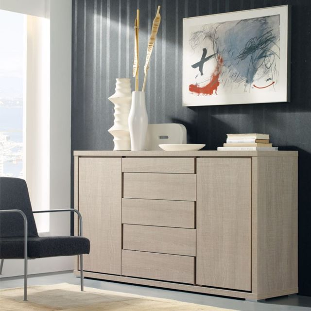 Tousmesmeubles Buffet 2 portes 5 tiroirs Chêne clair 150 cm - Apra