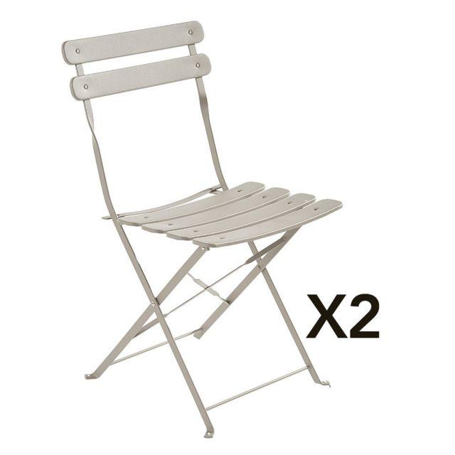 Gris De Bistrot Pliante Chaise 2 Lot WY2IE9DH