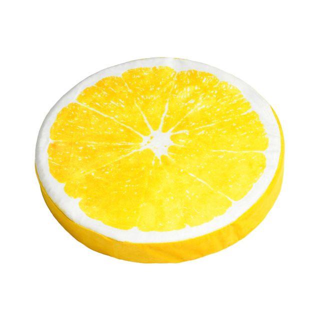 Stof - Galette de chaise ronde polyester motif tranche de fruit D37cm Frutti - Citron Jaune - 0cm x 0cm