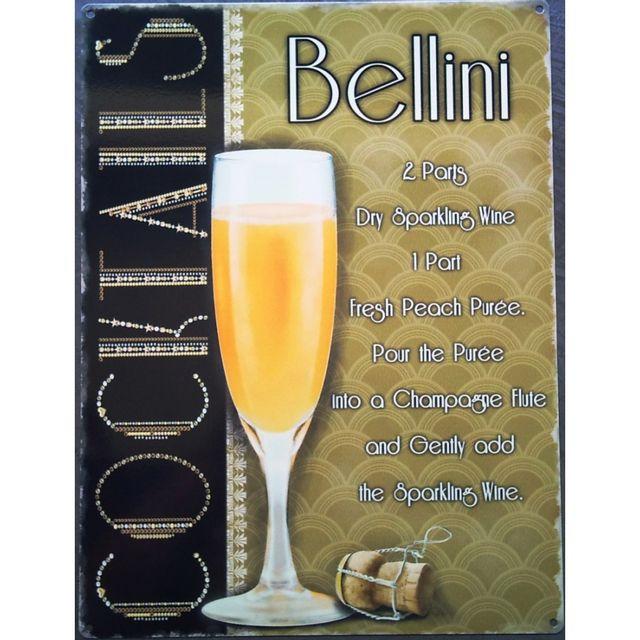Universel Plaque Cocktail Bellini Champagne Tole Deco Bar Pub