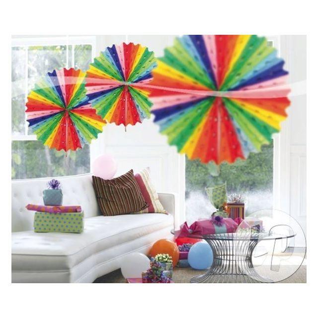 Lot De 6 Decoration Eventail 45cm Multicolore Qualite