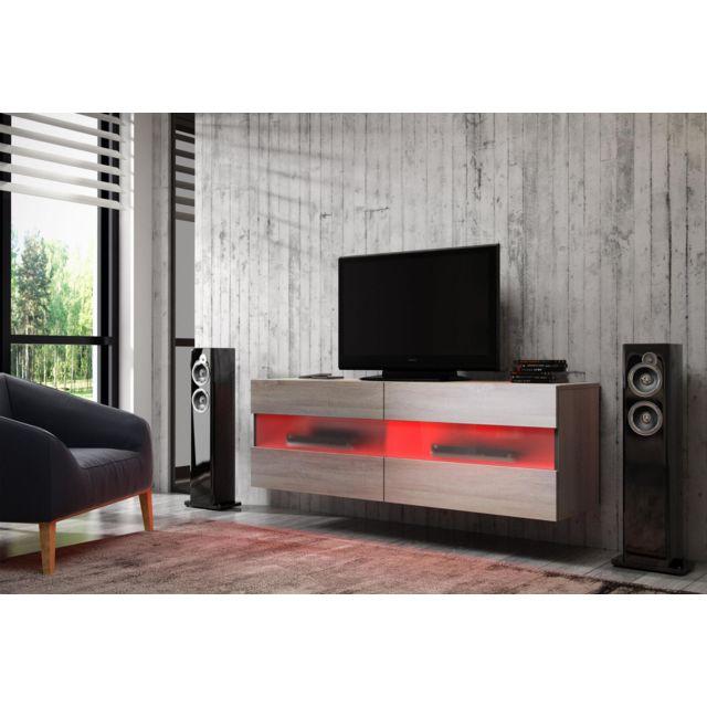 Vivaldi Rita Meuble Tv Design coloris chêne sonoma. Eclairage à la Led rouge