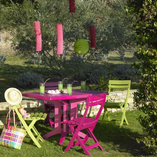Grosfillex - Salon de jardin vega 4 couverts fuchsia et vert ...