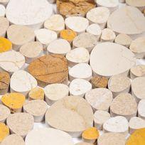 Capri - Mosaïque Galets plats Wooden Bubble blanche marron