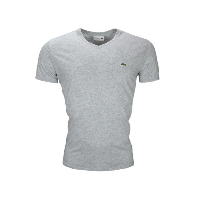 ccff3a278efa Lacoste - T-shirt col V gris en jersey pour homme - pas cher Achat   Vente Tee  shirt homme - RueDuCommerce